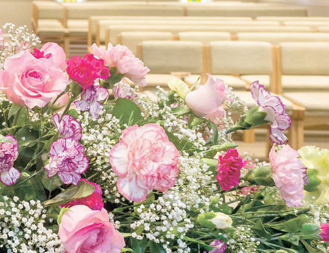 different kinds of flowers in the funeral